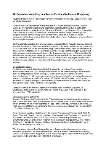 14. Generalversammlung des Kneipp-Vereines Meilen und ...