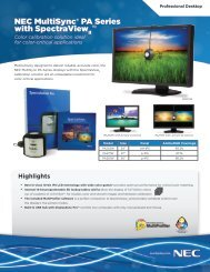 MultiSync PA Series with SpectraView - NEC Display Solutions