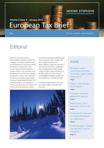European Tax Brief 2013 january - Moore Stephens City Treuhand