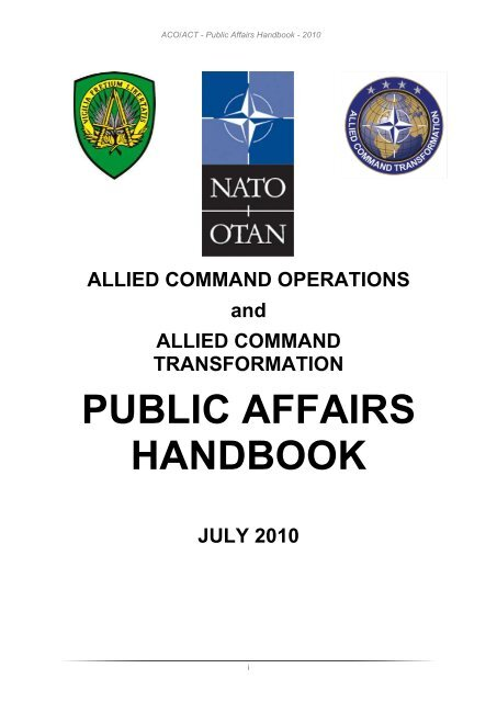 NATO Public Affairs Handbook, Version 2010 - ACO