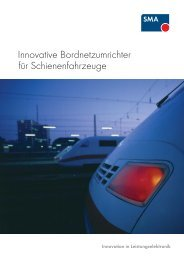 Innovative Bordnetzumrichter für Schienenfahrzeuge - SMA Railway