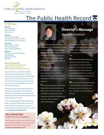 Issue 1 - Center for Public Health Initiatives - University of ...