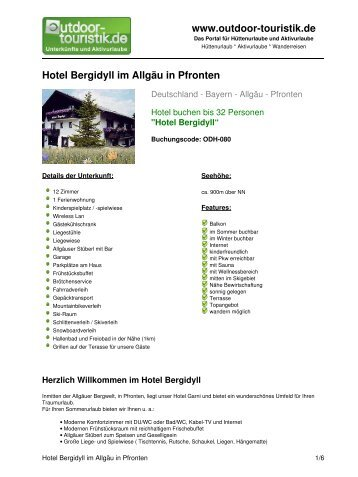 Hotel Bergidyll im Allgäu in Pfronten - Outdoor-Touristik