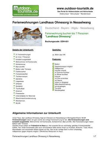 Ferienwohnungen Landhaus Ohnesorg in ... - Outdoor-Touristik