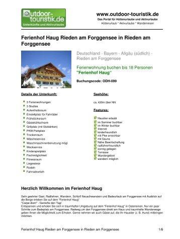Ferienhof Haug Rieden am Forggensee in ... - Outdoor-Touristik
