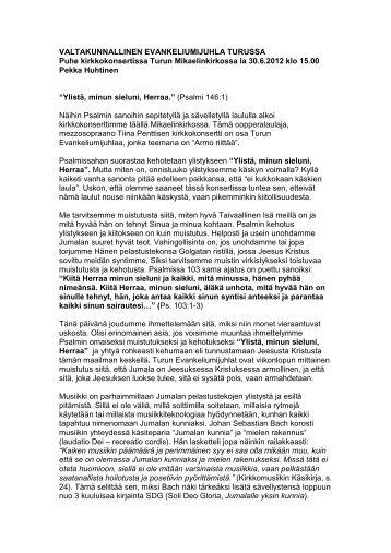 La 30.6.2012 klo 15:00: Pekka Huhtinen - Evankeliumijuhla