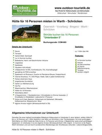 Hütte für 16 Personen mieten in Warth - Schröcken - Outdoor-Touristik