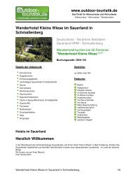Wanderhotel Kleins Wiese im Sauerland in  ... - Outdoor-Touristik