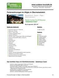 Ferienwohnungen im Allgäu in Obermaiselstein - Outdoor-Touristik