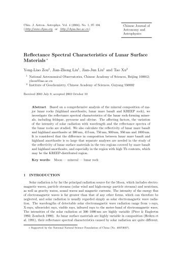 Reflectance Spectral Characteristics of Lunar Surface Materials