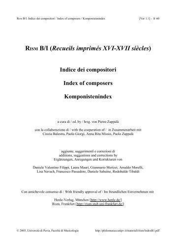 RISM B/I (Recueils imprimés XVI-XVII siècles) Indice dei compositori ...