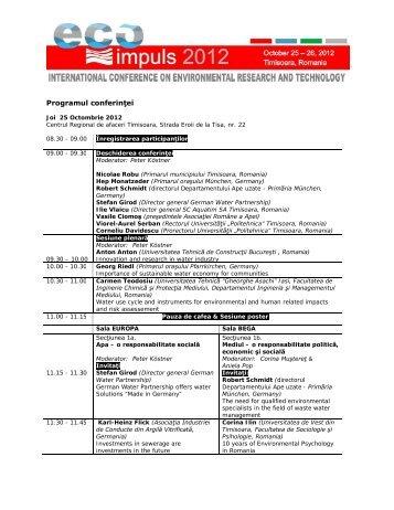 Programul conferinței (.pdf) - Eco Impuls 2013