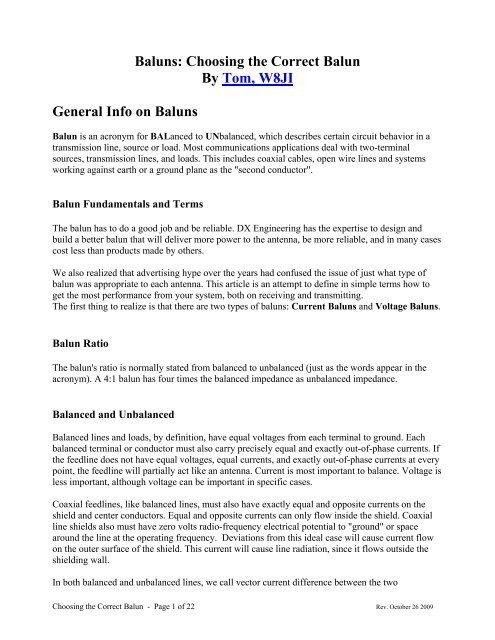 Baluns: Choosing the Correct Balun By Tom, W8JI     - DX