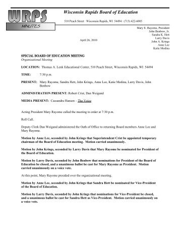 Minutes for Special Board of Ed Meeting 4-26-10 - Wisconsin ...