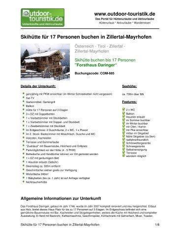 Skihütte für 17 Personen buchen in Zillertal ... - Outdoor-Touristik