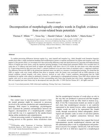 Decomposition of morphologically complex words in English ...