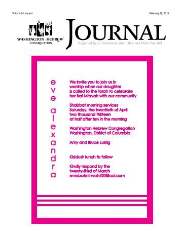 Volume 54, Issue 4 February 25, 2013 - Washington Hebrew ...