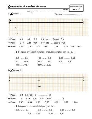 Comparaison de nombres décimaux - Instit90