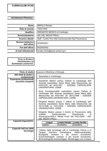 curriculum vitae - Medio Friuli