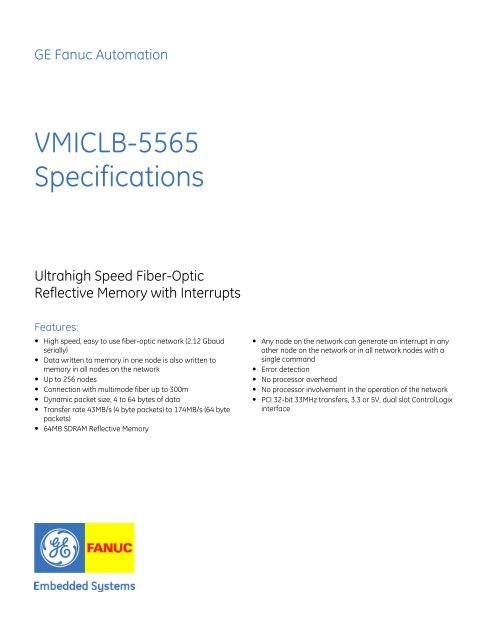 VMICLB-5565 Specifications - systerra computer GmbH