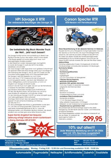 HPI Savage X RTR Carson Specter RTR 10% auf alles!!!
