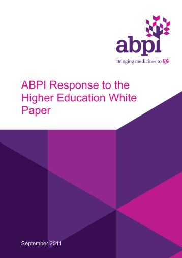 ABPI Response to the Higher Education White Paper