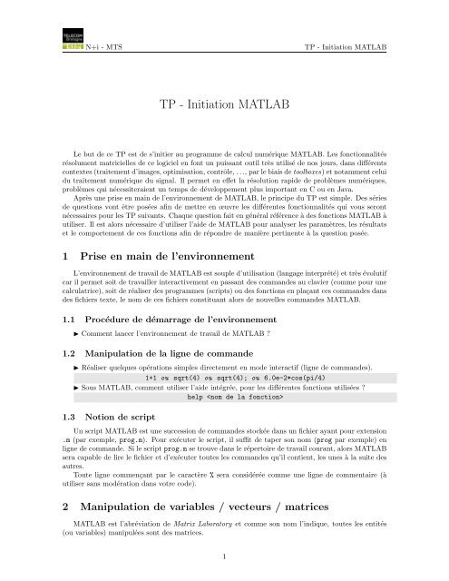 TP - Initiation MATLAB