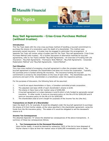 Buy/Sell Agreements - Criss-Cross Purchase Method ... - RWGlobal