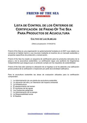Checklist FoS Cultivo de Almejas - Friend of the Sea