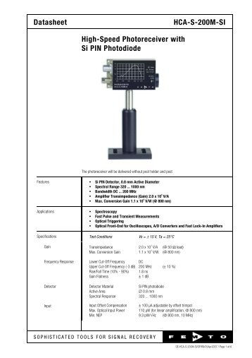 Datasheet HCA-S-200M-SI High-Speed Photoreceiver with Si PIN ...