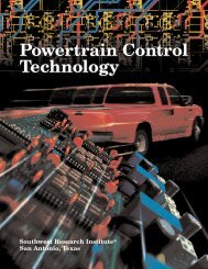 Powertrain Control Technology - Southwest Research Institute