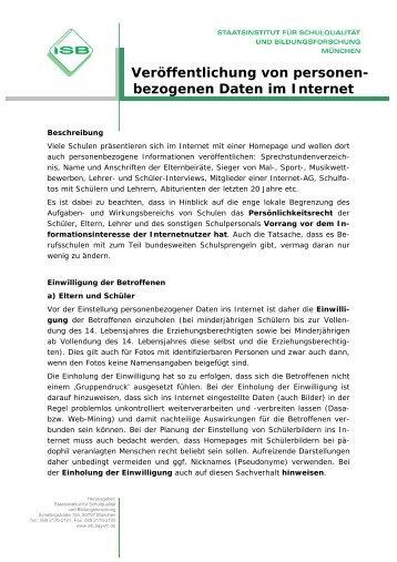 Veröffentlichung von personen- bezogenen Daten im Internet
