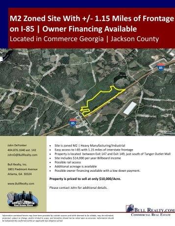 M2 Zoned Site With +/- 1.15 Miles of Frontage on I-85 ... - Bull Realty