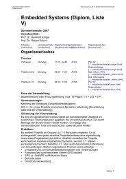 Embedded Systems (Diplom, Liste V) - Labor für Verteilte Systeme