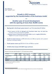 Growth in 2012 revenue, supported by the transformation of ... - Accor