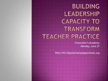 Building Leadership Capacity to Transform Teacher Practice (pdf)