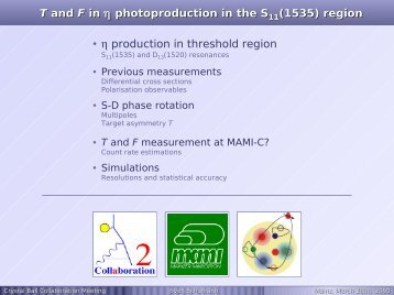 T and F in  photoproduction in the S (1535) region ... - A2 Mainz