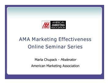 AMA Marketing Effectiveness Online Seminar Series