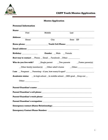 CAPP Youth Mentee Application - Salamanca City School