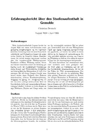 Erfahrungsbericht uber den Studienaufenthalt in Grenoble