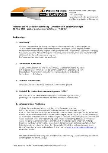 Protokoll der GV vom 10.03.08 - Gewerbeverein beider Gerlafingen