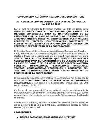 ACTA DE ADJUDICACION INVITACION PUBLICA No. 006 DE 2010