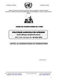 united nations - Institut Africain de Développement Economique et ...