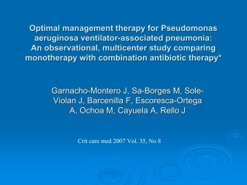 Optimal management therapy for Pseudomonas aeruginosa ... - ICU