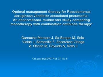Optimal management therapy for Pseudomonas aeruginosa ... - ICU