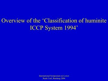 Overview of the 'Classification of huminite ICCP System 1994'