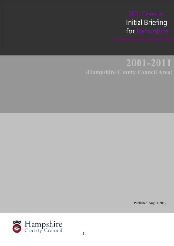 2011 Census Initial Briefing for Hampshire - Hampshire County ...