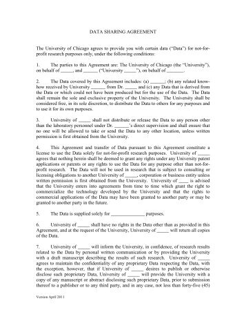Data Sharing Agreement Pdf Tropi Dry University Of Alberta