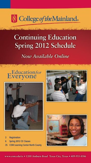 Continuing Education Spring 2012 Schedule - College of the Mainland