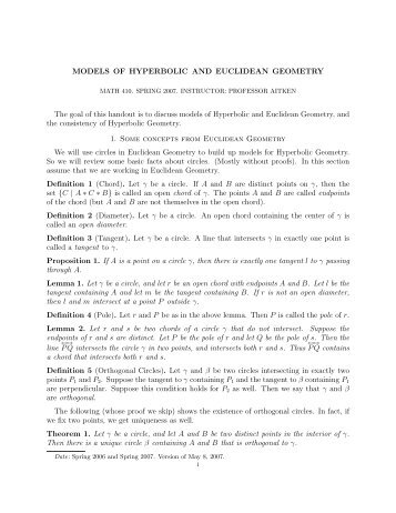 MODELS OF HYPERBOLIC AND EUCLIDEAN GEOMETRY The ...